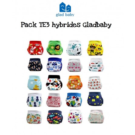 Pack couches lavables TE3 hybrides Gladbaby